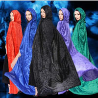 Halloween Kostüme Hexe Cloacks Halloween Vampire Mantel Kapuzenpullover Witch Wizard Cloaks Death Gown Robe Fancy Cosplay 150CM Für Erwachsene