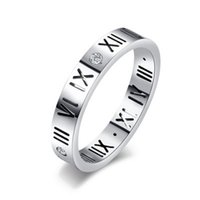 Wholesale Vintage Silver Rose Ring - Hot Sell 2017 Top Fashion Stainless Steel Ring Vintage 925 Silver Rings Fine Jewelry Engraved Roman Numeral Rose Gold Rings