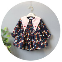 Wholesale Magic Triangles - INS styles new Girl kids spring fall long sleeve Triangle Magic collar dress full geometry print girl charming dress girl's dress