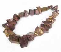 Wholesale Titanium Necklace Brown - 15.5 Bigger Size Titanium Brown Gold Crystal Quartz Point Pendant, Healing Gems stone Spikes Drilled Briolettes Rock, Women Necklace Jewelry