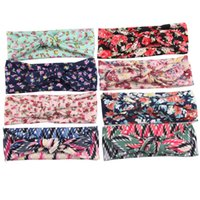 Wholesale Popular Baby Headbands - Popular Baby Headbands Bohemian girl bow Headband Little Floral print Twist Head Wrap Twisted Knot Soft Hair band Bandanas New Hotsale 2016