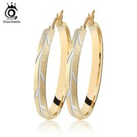 Wholesale Crystal Earring Hoop Steel - 35mm Hoop Earrings with 3 Layers Gold Plated Shiny Earring for fashion Woman Nice Jewelry GTE24