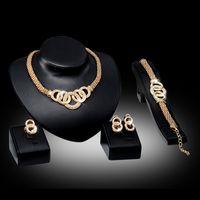 goldschmucksachen für frauen großhandel-Armbänder Halsketten Ohrringe Ringe Sets Damen Mode Strass 18 Karat Vergoldet Legierungskreise Partei Schmuck 4-teilig Set Großhandel JS010