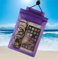 Wholesale Neck Lock - Clear Transparent Waterproof Pouch seal bag Universal big size PVC Underwater swimming pocket with Neck lanyard for iphone 7 plus s8 HTC
