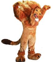 Wholesale Lion Adult Costumes - Lion Mascot Costume adult size brave Lion cartoon Costume Party fancy dress factory direct sale High Quality