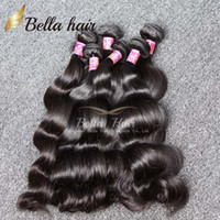 Wholesale Bella Hair Brazilian Body Wave - 7A Peruvian Malaysian Indian Brazilian Hair Extension Body Wave Natural Color 4pcs lot Mix length Hair Weaves Weft 8~30 Bella Hair
