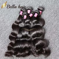 vücut dalgası atkı uzantıları toptan satış-Bella Hair® 8A Perulu Malezya Hint Brezilyalı Saç Uzatma Vücut Dalga Doğal Renk 4 adet / grup Mix uzunluk Saç Örgüleri Atkı 8 ~ 30