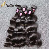 ingrosso corpo misto-Bella Hair® 8A peruviano malese indiano brasiliano estensione dei capelli dell'onda del corpo di colore naturale 4 pz / lotto mix lunghezza dei capelli trama trama 8 ~ 30
