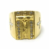 Wholesale Ring Cross Gold - High Quality Hot Sale 316L Stainless Steel 18k Gold plated jesus's cross men women religious ring wholesale