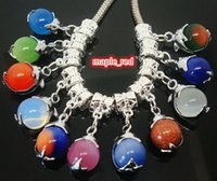 50PCS lot Mixed Round Natural Stone Dolphin Dangle Pendants fit European Bracelets & Necklace hole size 5mm