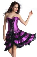 Wholesale Sexy Dance Dresses Plus Size - Gothic Corsets And Bustiers Dress Overbust Corselet Sexy Straitjacket Lingerie Purple Dance Corzzet Skirt Suit Satin Front S-6XL 2312