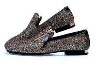 payetli elbise ayakkabıları toptan satış-Yeni Erkekler Loafer'lar Elbise Ayakkabı Erkek Payetli ayakkabı Bağbozumu erkek Yassı Marka Erkek Sürüş Terlik Siyah Rahat Ayakkabılar
