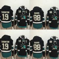 Wholesale Mixed Hoodies - San Jose Sharks Hockey Hoodie #19 Joe Thornton #88 Brent Burns Jerseys Men's 100% Stitched Embroidery Logos Hockey Sweatshirt Mix Order