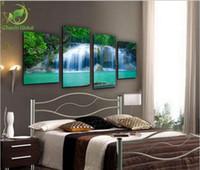 fluss gemälde großhandel-4 Panel Moderne Printed Forest River Malerei Bilder Cuadros Leinwand Kunst Wasserfall Gemälde Für Schlafzimmer Unframed