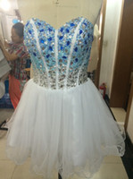 Wholesale Beaded Ball Gown Prom Dresses - Beaded Crystal Short Ball Gown Prom Dress Custom Made 2016 Knee Length Prom Gowns Drop Shipping