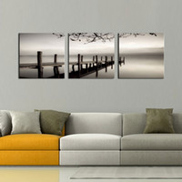modern peyzaj resimleri toptan satış-3 paneller Siyah ve Beyaz Manzara Giclee Tuval Baskılar Tuval Duvar Sanatı Modern Resimleri Sergisi Yapıt Oturma Odası Yatak Odası için