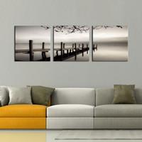 ingrosso opere di dipinti-3 pannelli in bianco e nero Paesaggio Giclee Stampe su tela Wall Art Quadri moderni Quadri dipinti per soggiorno Camera da letto