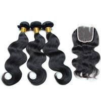 peru saç ürünleri vücut dalgası toptan satış-Perulu Bakire Saç Vücut Dalga 5 adet perulu saç Ürünleri 3 adet Atkı 1 adet Kapatma 8A perulu örgü kapatma Ücretsiz Kargo