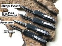 Wholesale Otf Blade Knife - 4 Models Benchmade OTF Small C07 Spear Tanto Drop Point Serrated 7.2cm Edge Double Single Action Aluminum Handle Pocket EDC Knife