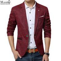 Wholesale Woolen Suits For Men - 2016 New spring men casual Blazer mens linen cotton suit Jacket slim fit Men's classic blazer for male