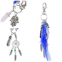 Wholesale Key Rings For Beads - Feather Tassels Dream Catcher Keychain Palm Pendant For Purse Bag Key Car Newest Hot Charm Keychain Ring Chain Free DHL D297S