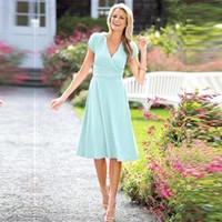 nane yeşil şifon kısa elbise toptan satış-2017 Kısa anne Gelin Damat Elbiseler Kısa Kollu Diz Boyu Nane Yeşil Şifon Parti Elbiseler Artı Boyutu Gelinlik Modelleri BA3575