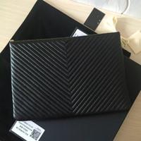 Wholesale ipad small online - original deerskin leather v style clutch women luxury clutch cosmetic bag ipad bag women s evening bag