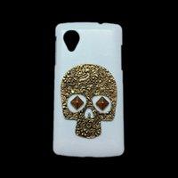 Wholesale Nexus White Case - Hard Case Shell for LG Google Nexus 5, Punk Rivet Stud Vintage Retro Bronze Metallic Skeleton Skull White Back Protective Skin Cover