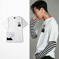nueva camiseta corta foto al por mayor-Nuevo Diseñador G Dragon T Shirt GD Photo T-shirts Manga Corta Blanco Hombres Mujeres Camiseta THDX0371XX