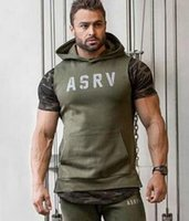 Wholesale Mens Waistcoat Green Vest - Men Hooded sleeveless undershirt cotton sport vest waistcoat sleeveless tank top mens Workout fitness hoodies sweatshirts gym hight quality