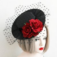 Wholesale Head Hat For Party - sexy party hat dress Wedding hair pin Vintage Flower mesh Hair Accessories Bridal Head Hats For Christmas Wedding Party dress Fascinator