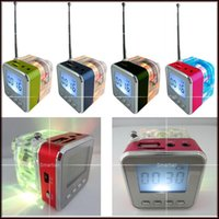 Wholesale Speaker Portalble - NiZHi TT-028 Mini Portalble Subwoofer LED Light Crystal LCD Display Mini Music MP3 Player Loud Speaker Spearkers FM Radio USB Disk TF Card