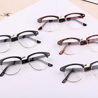 Wholesale Retro Nerd Glasses - 1 PC Classic Retro Clear Lens Nerd Frames Glasses Fashion brand designer Men Women Eyeglasses Vintage Half Metal Eyewear Frame