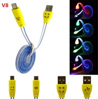Wholesale Usb Ap - 50pcs lot DHL free Micro USB V8 Charger Cable LED Light Data Cable Smiley Flashing 1M Noodle Charging Cords for ap 4 5 6 Galaxy S4 Android