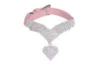 Wholesale Velvet Puppy - Free Shipping! Wholesale Rhinestone Diamond Soft Velvet Pet Puppy Dog Cat Collars Necklace Heart pendant Chains 3 Colors assorted
