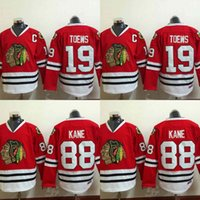 Jeunes enfants Chicago Blackhawks Jersey 19 Jonathan Toews 88 Patrick Kane 100% brodé broderie Logos Maillots de Hockey Cheap Red