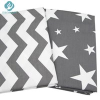 Wholesale Chevron Fabric Wholesalers - 2pc 50*160cm Grey Stars Chevron Design Cotton Fabric for Home Textile Cushion Sewing Baby Quilts Fabric Home Decoration Material