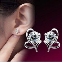 Wholesale Heart Shaped Diamond Earrings Studs - Wholesale 925 sterling silver Butterfly heart-shaped Zircon Earrings Korea Europe for Women Wedding jewelry Factory price sales Not fade
