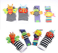 Wholesale Rattles Hands Foots - Cute Animal Infant Baby Kids Hand Wrist Bell Foot Sock Rattles Soft Vibrant Hand foot finder toys