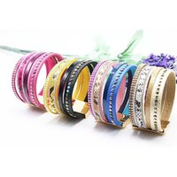 Wholesale Magnetic Bamboo - 2016 Luxury Boho Bamboo Leather Bracelets Bangles with Magnetic Buckle Wrap Jewelry Pulsera for Women brazaletes pulseras mujer