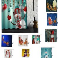 Wholesale Curtain Printing - Christmas Bathroom Shower Curtain Polyester 3D Santa's Snowman Printed Series Christmas Decoration 20 design 165*180cm LJJK769