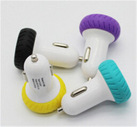 Wholesale Uk Iphone5 - Newest Silicon Tyre 3.1A Dual USB Car Charger Universal Charging Adatper For Mobile Phone Samsung Galaxy S6 Apple iphone5 6 Ipad Player