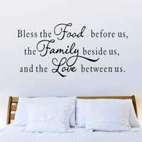 Wholesale Dining Stickers - 57x117cm Large Bless Food Family Love Wall Sticker English Motto Proverb Wall Decals Decorations for Home Living Room Dining Room