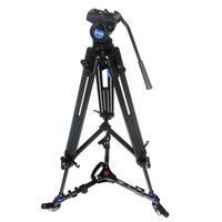 Wholesale Camera Tripod Dolly - Pro Video Fluid Drag Tripod Benro KH25N + 3 Wheels Support Skater Dolly For Canon Sony Panasonic Camera Camcorder Free DHL