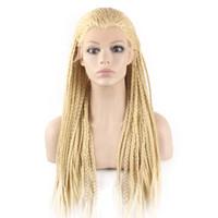 cabelo trançado loiro venda por atacado-613 Blond Kanekalon trança peruca de cabelo completa Longo Micro trançado sintética rendas frente perucas para Branco Mulheres Moda