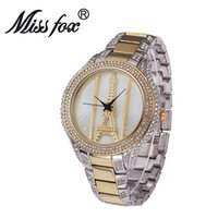 Wholesale Eiffel Watch Diamond - Diamond Luxury Brand Bracelet Wristwatch Ladies Crystal Quartz Clocks High Quality Luxury Women Watches Crystal The Eiffel Tower Watch Ladie