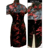 Wholesale Xxl Black Mid Calf Dress - Black red Chinese Women's Satin Cheongsam Qipao Mini Evening Dress Size:S M L XL XXL XXXL 4XL 5XL 6XL