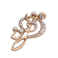 Wholesale Music Gifts For Wedding - 2016 jewelry Gold music note shape unisex's pin brooch for gift Christmas wholesale Gold Plated Alloy Costume Jewelry for WomenZJ-0903680