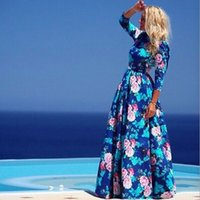 Wholesale Dresses For Women Maxi - 2016 new fashion print long dresses for women full sleeve beach dress female o-neck casual cute blue bohemian maxi summer dress