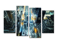 Wholesale Big Beautiful Homes - (3)Beautiful Big City Vertical View Landscape Oil Painting Wall Art Home Decoration Canvas Paintings For Living Room Unframed Free shipping